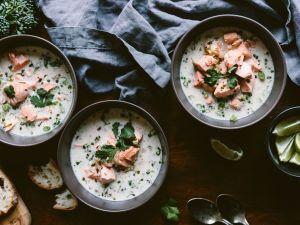 Lachs-Kokos-Suppe Rezept