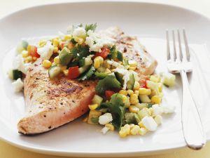 Lachs mit Salsa aus Avocado und Mais Rezept