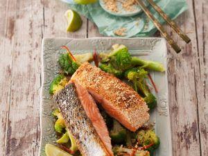 Lachs mit Sesamkruste und Brokkoli Rezept