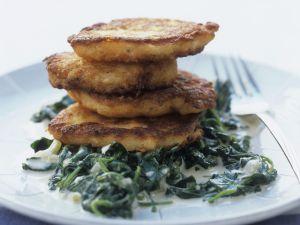 Lachsbratlinge mit Spinat Rezept