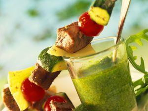 Lamm-Gemüse-Spieße mit Kräuterdip Rezept
