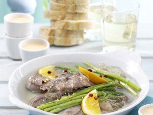Lamm in Gelee mit Paprika-Safran-Aioli Rezept