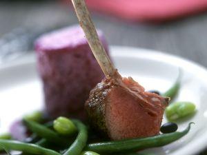 Lamm mit Souffle und Bohnen Rezept