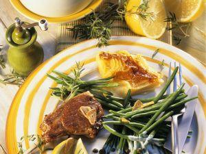 Lammchops mit Gratin und Bohnen Rezept