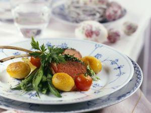 Lammchops mit Kartoffeln, Bohnengemüse und Tomaten Rezept