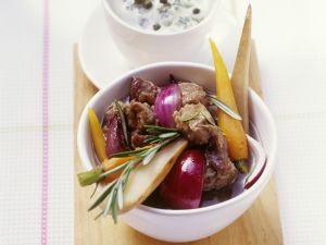 Lammfleischtopf mit Karotten, Zwiebeln und Pastinaken Rezept