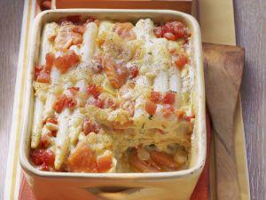 Lasagne mit Spargel, Lachs und Tomaten Rezept