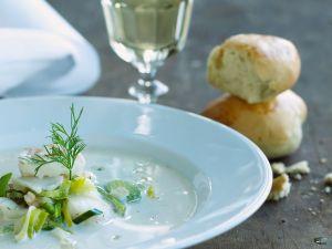 Lauchcremesuppe mit Fisch Rezept