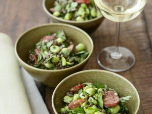 Linsen-Bohnen-Salat mit scharfer Wurst (Chorizo) Rezept