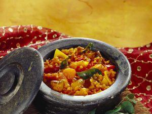Linsen-Kürbis-Topf mit Auberginen Rezept