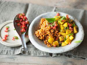Linsen mit Kartoffeln und Tomatensalsa Rezept