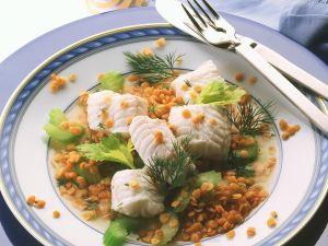Linsen-Selleriesalat mit Kabeljau Rezept