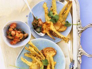 Mairübchen in Tempurateig mit Salsa Rezept