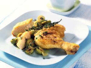 Maispoularde mit Oliven Rezept