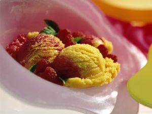 Mango- und Himbeersorbet Rezept