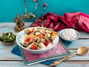 Mangold-Tofu-Curry mit Champignons und Basmati-Reis Rezept