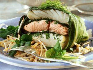 Mangoldpäckchen mit dreierlei Fisch Rezept