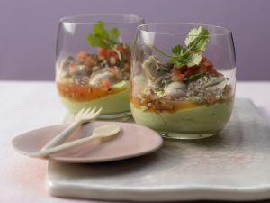 Marinierte Austern auf Avocadocreme Rezept