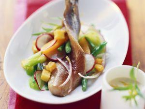 Matjes auf Bohnensalat mit Radieschen Rezept