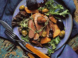 Mediterrane Entenbrust mit Feigen und Oliven Rezept