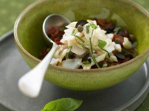 Mediterraner Kabeljau mit Oliven Rezept