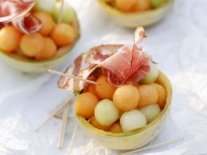 Melonenkugeln mit Schinken Rezept