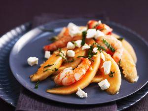 Melonensalat mit Shrimps Rezept