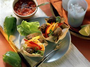 Mexikanische Paprikapfannkuchen mit Hackbällchen Rezept