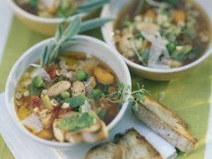 Minestrone mit Pesto-Crostini Rezept