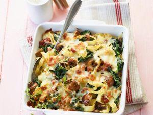 Nudelgratin mit Spinat und Pilzen Rezept