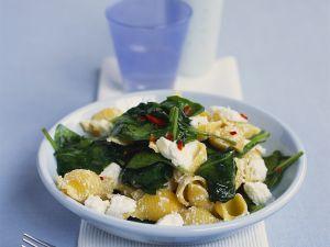 Nudeln mit Feta und Spinat Rezept