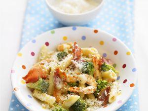 Nudeln mit Garnelen und Brokkoli Rezept
