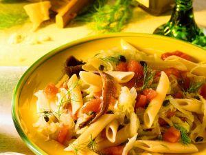 Nudeln mit Gemüse und Sardellen Rezept