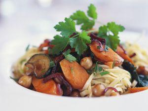 Nudeln mit Rotwein-Gemüse Rezept