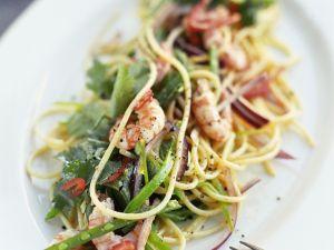 Nudelsalat mit Zuckerschoten und Shrimps Rezept