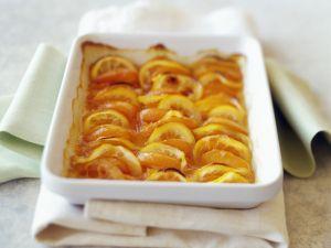 Obstauflauf mit Pfirsichen und Zitronen Rezept