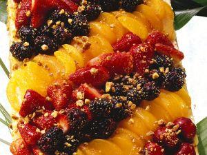 Obstkuchen mit Krokant Rezept