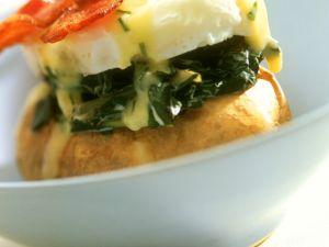 Ofenkartoffeln mit Spinat und Ei Rezept