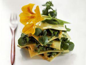 Offene Lasagne mit Wildkräutern Rezept