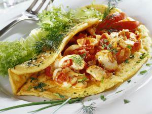 Omelett mit Champignons und Tomaten Rezept