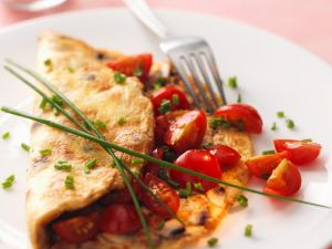 Omelette mit Pilzen und Tomaten Rezept