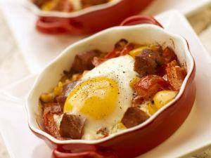 Paprika-Chorizo-Auflauf mit Spiegelei Rezept