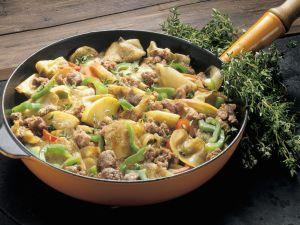 Paprika-Leberwurst-Pfanne Rezept