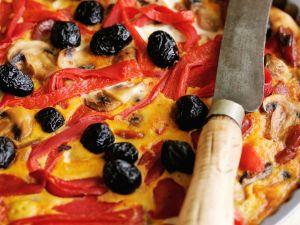 Paprika-Oliven-Quiche Rezept