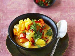 Paprika-Süßkartoffel-Eintopf nach indischer Art Rezept