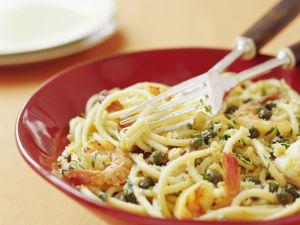 Pasta mit Garnelen und Kapern Rezept