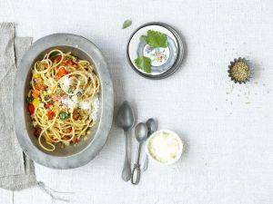 Pasta mit gegrilltem Gemüse und Pecorino Rezept
