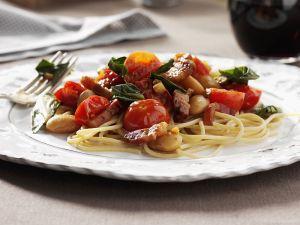 Pasta mit Gemüse und Pancetta Rezept