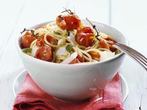 Pasta mit geschmorten Cherrytomaten Rezept