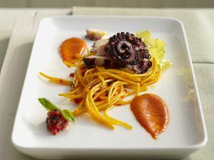 Pasta mit Safran und Oktopus Rezept